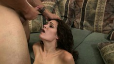 Sexy brunette gets her curvy ass groped before letting in a cock