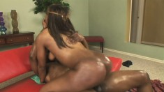 Raven Vixen gets on top of a black shaft and fucks it with excitement