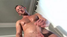 Stuart James has a hot body and is not afraid to show it while stroking his junk