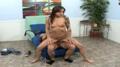 Skinny brunette Vivian Jixxer has a long dick making her pussy happy