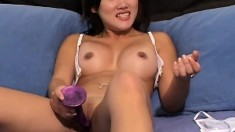 Sexy little Kalea Li poses in her white undies and a dildo in her twat