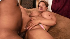Chubby ebony gets nailed from behind, on her back and eats cum