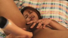 Asian honey Nam fingers and toys herself so hard she squirts