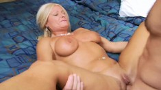 Big breasted blonde cougar Roxy orgasms on a young stud's hard shaft