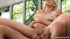 Slutty MILF can't stop screaming while impaling her ass on a hard cock