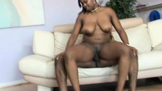 Ebony hottie Suga Brown gives head and bends over for a pounding