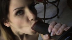 Skinny brunette with a sweet ass knows her way around a big black rod