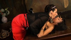 Alyssa Divine and Paige Turnah enjoying some exciting lesbian action
