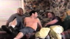 Hung black stud Romeo has two cute white boys sharing his large dick