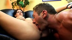 Short-haired young tart moans while bouncing on a thick fuck stick