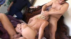 Delightful blonde wife has four guys taking care of her sexual desires