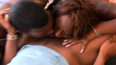 Three bodacious black lesbians share a big sex toy and a dark shaft