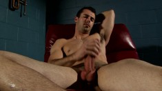 Brock Cooper sensually loses his clothes and drives his pole to orgasm