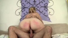 Chubby blonde cougar has a juicy peach yearning for a hard pounding