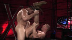 Muscled blonde hunk relishes every deep thrust of hard meat up his ass