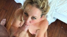 Hot blonde MILF gets her cunny pumped and a face full of cum