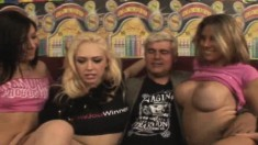 Kagney Linn Karter and her hot friends offering Kenny a great blowjob
