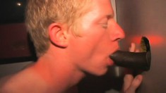 Attractive blonde boy Aaron blowing strangers and pleasing himself