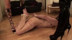 BDSM femdom cfnm beauties wank off a dude