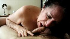 Big tit slut sucks a big white cock POV