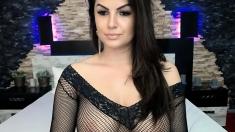 Fake boobs brunette models sheer lingerie