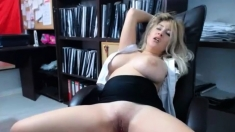 Busty milf plays with her huge natural boobs on Cam