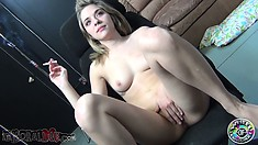 Horny Lia Lor lights up a smoke and reaches down for her cunt
