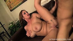 Eva gets her twat pounded hard, from behind, and she gets on top