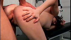 Nasty Brunette, Nadia, Gets A Serious Pussy Workout At The Gym