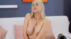 Sexy Blonde Uses Fuck Machine