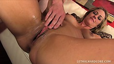Buxom blonde milf tongues her man's ass, sucks his long dick and gets fucked hard