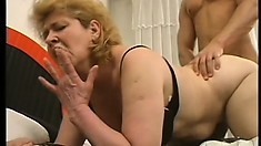 Horny old lady screams with delight as a young guy fucks her pussy like she deserves