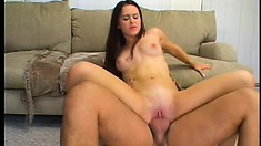 Wild brunette with sexy tits gets her cunt banged hard and her face covered with cum