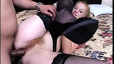 Appealing cougar with superb titties has her hairy ass pricked