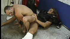 Horny football player sucks off a fan through a bathroom glory hole