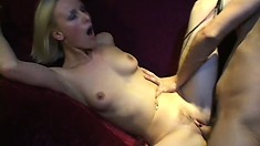 Cute blonde lets a hung guy shove his prick up her tight bunghole