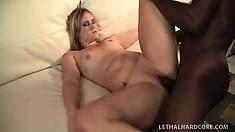 Nasty Briella uses both hands when she sucks his big black cock