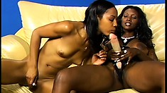 Lusty ebony lesbians with foot fetish action using toes and toys
