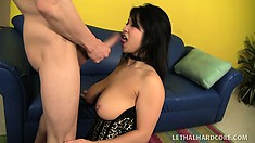 Stacked Asian girl fully enjoys the wild pussy pounding action on the blue couch