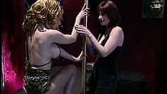 Horny lesbian couple in pantyhose get into a steamy fuck fest