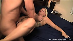 Stunning blonde with a wonderful ass loves to suck big cock and to get fucked hard