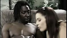 Sexy brunette bimbo gets her slim pussy slammed on a black cock