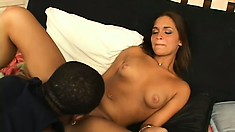 Hung black stud's dick is almost too much for this girl's tight pussy