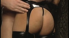 Hot babe Hannah Harper in lingerie eats his knobby and gets drilled