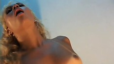 Sexy tanned blonde with perky tits takes a long black cock deep in her anal hole