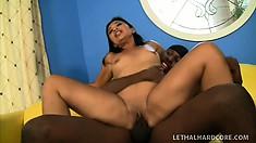 Lovely Asian tart Lucky Starr gets deep fucking with ebony dude