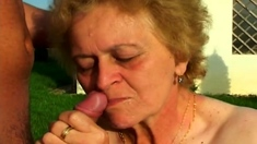 Outdoor granny blowjob
