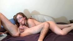 Amateur brunette fucks two big cocks