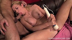 Sexy blonde warms up with a vibrator before taking a colossal cock