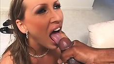 Insatiable brunette is fond of feeling a huge black cock inside her
